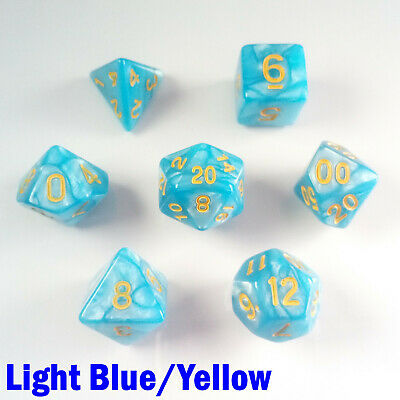Pearl Poly 7 Dice RPG Set Light Blue Yellow Pathfinder 5e Dungeon Dragon D&D HD