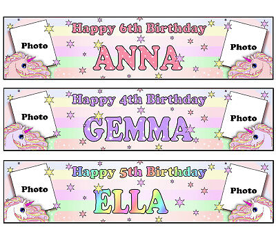 Personalised Banners Name Age Photos Birthday Unicorn Party Pink Purple White S3