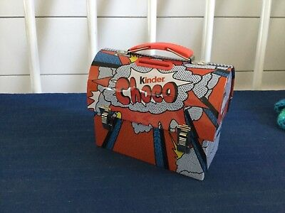 """KINDER CHOCO TIN MINIATURE LUNCHBOX 5 x 5"""" COLLECTIBLE ADVERTISING (BANK)"""