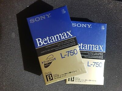 2x SONY BETAMAX L-750 HIGH RESOLUTION VIDEO CASSETTE NEW IN WRAPPING