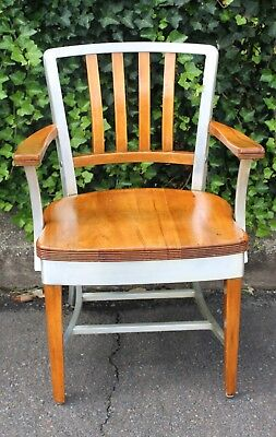 Vintage 1950's Mid-Century Wood & Aluminum Industrial Shaw Walker Office Chair