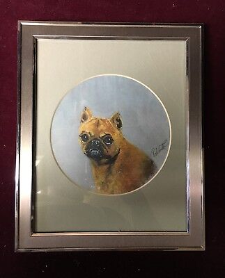 Hand Painted Oil Portrait of Short-Haired Brussels Griffon - Roberta Crair