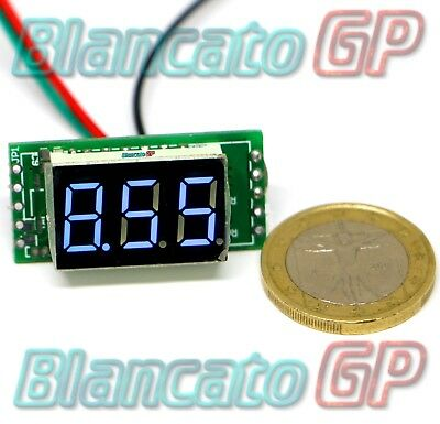 Mini Voltmetro digitale 0- 10V con display a segmenti LED blu 12V solo circuito