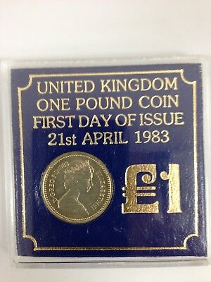 1983 £1 United Kingdom One Pound Coin First Day of Issue 21st April #SS612