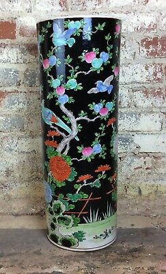 Antique Chinese 19th century Ross Medalion hand painted porcelain umbrella stand