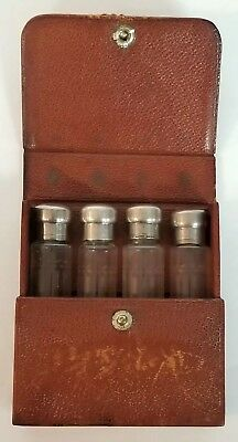 Antique Tiffany & Co. Etched Sterling Silver Crystal Glass Perfume Bottles& Case