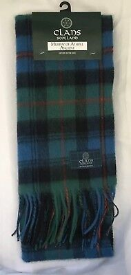 Clans Scotland Murray Of Atholl Anccient 100% Lambs Wool Scarf Scotland Made NEW