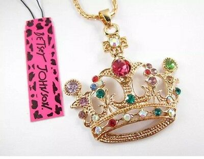 Betsey Johnson Necklace MOSIAC CROWN Crystal Cross Catholic Greek Gift Box Bag