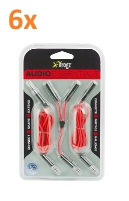 Lot of 6 - iFrogz Audio Essentials Kit - Y-splitter, Auxiliary, Extension Cables