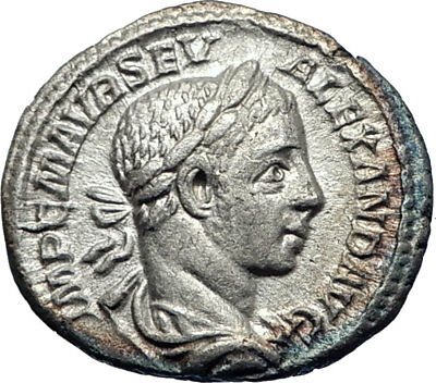 SEVERUS ALEXANDER 225AD Silver Ancient Roman Coin JUPITER with Victory i73237