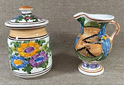 Vintage B.a. Skyros Hand Made Greek Pottery Pitcher And Lidded Jar Signed