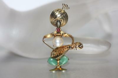 Vintage 14K Yellow Gold Musician Playing Mandolin Brooch Pin Jade Pearl Ruby
