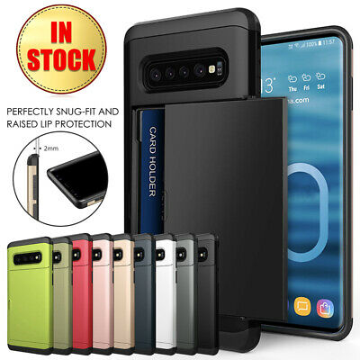 Galaxy S10 S10e S9 S8 Plus Note9 Case Slide Armor Wallet Card Slots Holder Cover