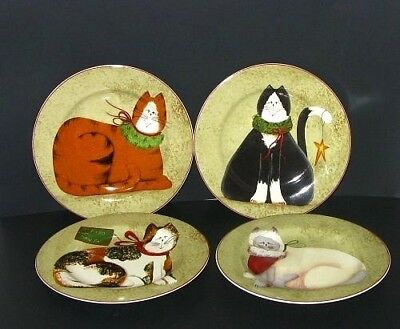 "4 Sakura Fiddlestix Christmas Cats 8"" Side / Salad / Dessert Stoneware Plates"