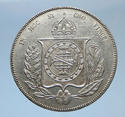1863 BRAZIL Silver 1000 Reis Antique Brazilian Coin w Coat-Of-Arms i69371