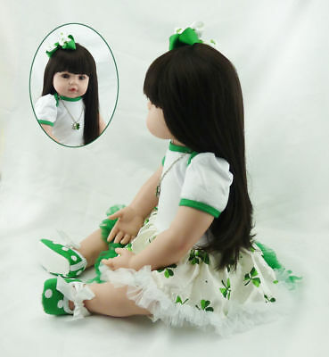 """22"""" Reborn Toddler Doll Girl Silicone Vinyl Realistic Baby Dolls Lifelike Gifts"""