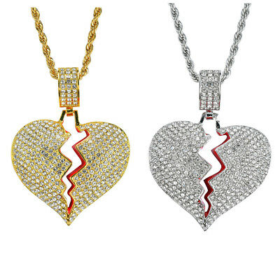 """Iced Out Broken Heart Pendant 24"""" Stainless Steel Rope Chain Necklace with Box"""