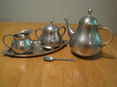 5 Piece Vintage Royal Holland Pewter KMD TIEL Tea Service Set, Holland, Vintage