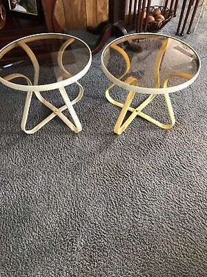 """Mid Century Pair Metal 20"""" Round Tables With Smoked Glass Tops"""