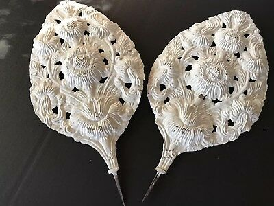 Pair Antique Victorian Fireplace Cover Surround Panel Guard Relief Metal Leaves