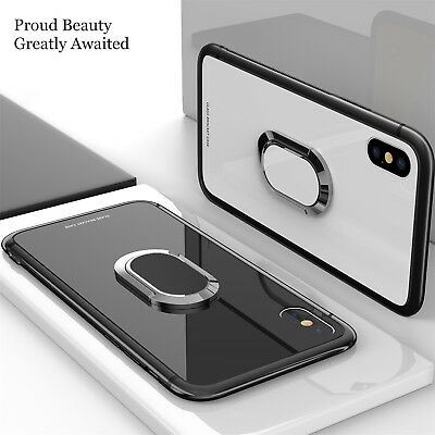 For iPhone 11 Pro Xs Max 8 Magnetic TPU Rubber Case Cover With Ring Stand Holder
