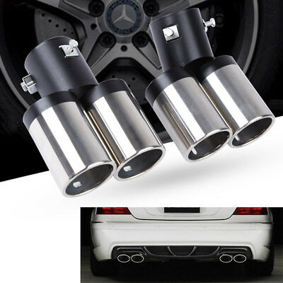 1to2 ID 2.5''/60mm Car Dual Exhaust Pipe Muffler Tip Tail Stainless Steel 1pc