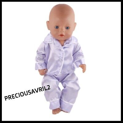 Baby born doll clothes fit 43cm fit American Girl Doll pyjamas purple satin look