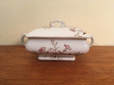 Antique/Vtg Maddock & Co Sauce Tureen w/ Applied Floral