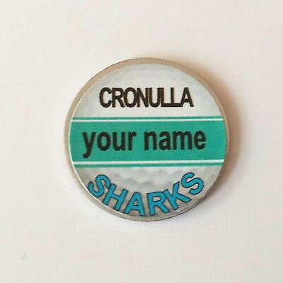 anneys - your OWN PERSONALISED  ** Sharks ** golf ball marker!!