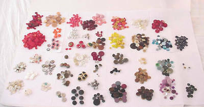 Vintage Mixed Buttons Lot Victorian Windmill 50s Crown Pearl Metal Glass Plastic