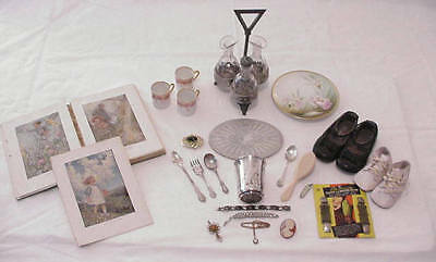 Vintage Lot Sterling Silver Plate Childs Flatware Prints Shoes Cameo Cruet Set +