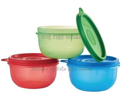 NEW Tupperware Ideal Little Bowls 8oz. Set 3 Lit'l Snack Cup In RED/BLUE/GREEN