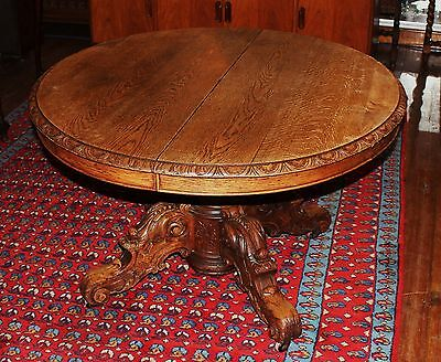 Beautiful French Antique Oak Renaissance Oval Small Short Pedestal Base Table