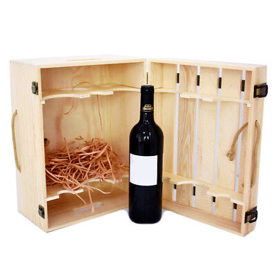 Wooden Wine Box Holder Carrier for 6 Bottles With Handle Wine Gift Box Present
