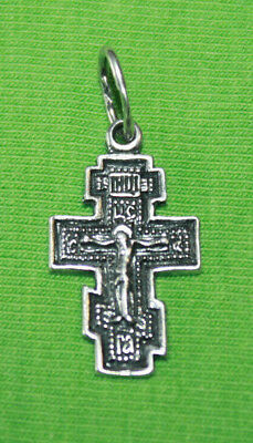 Vintage Crucifix 925 Silver Cross Pendant Orthodox Crosses Collecting #103