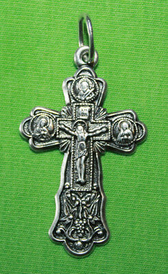 Vintage Crucifix 925 Silver Cross Pendant Orthodox Crosses Collecting #99