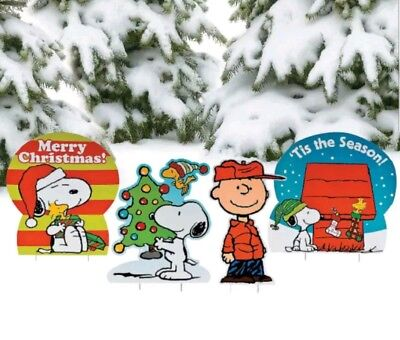christmas yard decorations outdoor lawn signs set of 4 peanuts charlie brown