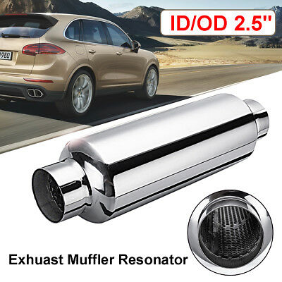 """14 inch Long Stainless steel Universal 4"""" x 10"""" Exhaust Silencer 2.5"""" Inlet 63mm"""