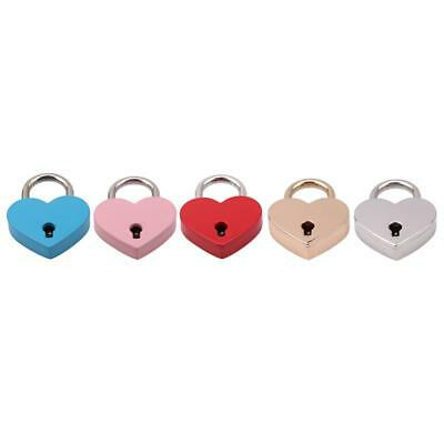 Vintage Unisex Heart Shaped Padlock with Key Travel Locker Set Safety New FI