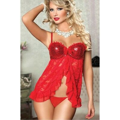 Babydoll Pizzo Rosso Donna Coppe Paillettes Sexy Lingerie Chemise Sottoveste