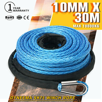10MM x 30M Blue Dyneema Winch Rope 4WD SK75 Synthetic Tow Recovery Cable