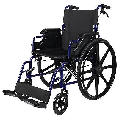 Foldable Lightweight Wheelchair With Flip Back Desk Arms, Swing Away Footrests
