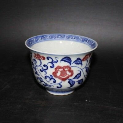 Chinese Old Marked Underglaze Blue and Red Twined Flowers Pattern Porcelain Cup