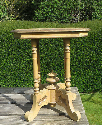 Vintage Wooden Victorian Style Shabby Chic Side / Lamp / Wine Table Turned Legs