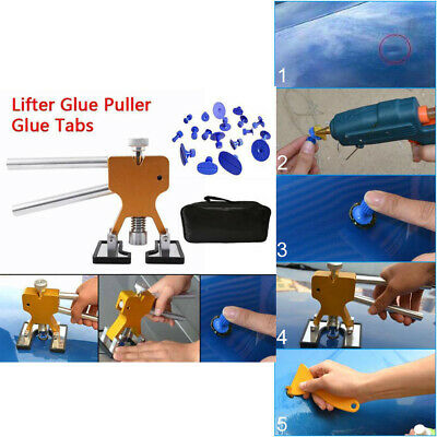 Car Body Paintless Dent Repair Tool Puller Tab Glues Removal Hail Lifter Kit