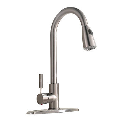 Commercial Stainless Steel Single Handle Pull Down Sprayer Kitchen Sink Faucet