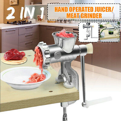 2 In 1 Hand Operated Juicer Meat Chopper Grinder For Fruit Vegetables Wheatgrass