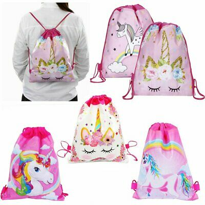Unicorn Kids PE Swim Drawstring Bag Girls Flying Horse School Gym Backpack KU