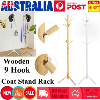 Wooden Coat Stand Rack Clothes Hanger Hat Tree Vintage Jacket Bag Umbrella 9Hook