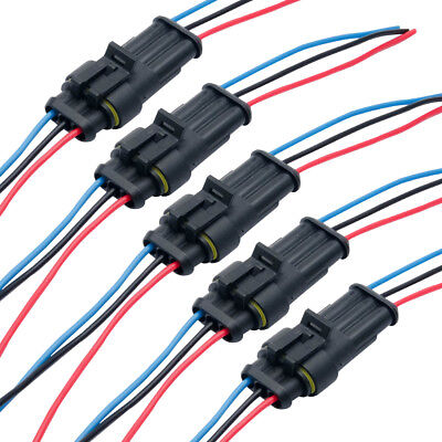 Superseal Amp/Tyco 3 Way Pre-Wired Waterproof 12V Electrical Connectors Pins 10